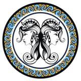 Decorative Zodiac sign Gemini Stock Photo