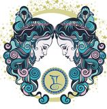 Decorative Zodiac sign Gemini Royalty Free Stock Photo
