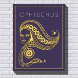 Decorative illustration with drawing on a brick wall 43. Decorative zodiac sign Ophiuchus. Horoscope and astrology astronomy-symbol. Vector illustration Royalty Free Stock Image