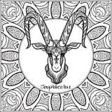Decorative zodiac sign on pattern background. royalty free illustration