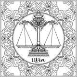 Decorative zodiac sign on pattern background. stock illustration