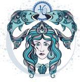 Decorative Zodiac sign Pisces Stock Image