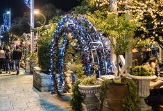 Decoratively decorated for Christmas celebrations Sderot Ben Gurion street in Haifa in Israel. Haifa, Israel, December 08, 2017 : Decoratively decorated for Royalty Free Stock Image
