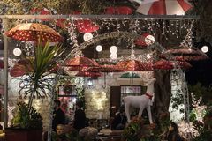 Decoratively decorated for Christmas celebrations Sderot Ben Gurion street in Haifa in Israel. Haifa, Israel, December 08, 2017 : Decoratively decorated for Stock Image