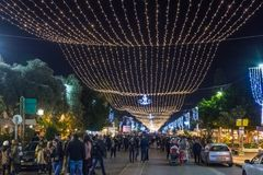 Decoratively decorated for Christmas celebrations Sderot Ben Gurion street in Haifa in Israel. Haifa, Israel, December 08, 2017 : Decoratively decorated for Stock Images