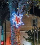 Decoratively decorated for Christmas celebrations Sderot Ben Gurion street in Haifa in Israel. Haifa, Israel, December 08, 2017 : Decoratively decorated for Stock Photos