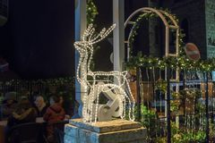 Decoratively decorated for Christmas celebrations Sderot Ben Gurion street in Haifa in Israel. Haifa, Israel, December 08, 2017 : Decoratively decorated for Stock Photo