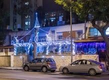 Decoratively decorated for Christmas celebrations street in Haifa in Israel. Haifa, Israel, December 08, 2017 : Decoratively decorated for Christmas celebrations Royalty Free Stock Image