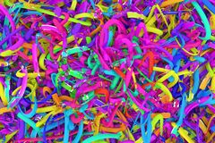 Decorativo, composição do cgi das ilustrações, contexto virtual das cordas desarrumados, para o fundo da textura do projeto 3d re foto de stock