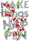Decorativo faça coisas acontecer flores coloridas e com projeto da tipografia da sarja de Nimes para o t-shirt Fotos de Stock