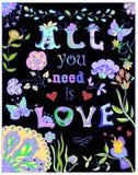 Decorativo tudo você precisa o cartaz colorido do amor Imagem de Stock