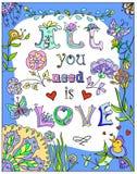 Decorativo tudo você precisa o cartaz colorido do amor ilustração royalty free