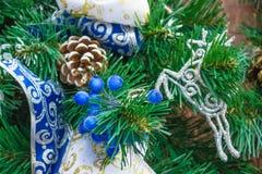 Decoraton azul y de plata del Año Nuevo Foto de archivo