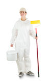 Decorator. Woman decorator  on white Royalty Free Stock Images