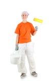 Decorator. Woman decorator  on white Stock Photos