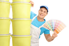 Decorator holding a color swatch Royalty Free Stock Photo