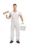 Decorator holding painting equipment Royalty Free Stock Photo