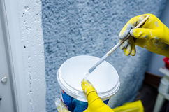 Decorator painting wall with blue paint. Hand in glove with a paint brush painting on wall Stock Photography