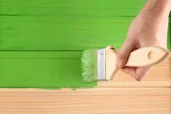 Decorator painting wood. With green paint Royalty Free Stock Image