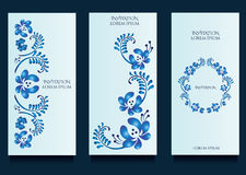 Decoratove templates for invitations and greeting cards at gzel floral unique style Stock Photos