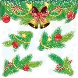 Decoratrionelementen van Kerstmis Royalty-vrije Stock Afbeeldingen