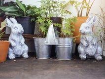 Decorazione all'aperto del giardino dei vasi di Bunny Sculpture Plant dei conigli Immagini Stock