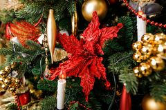 Decorazione alla moda dell'albero di Natale nei toni rossi e dorati Fotografie Stock