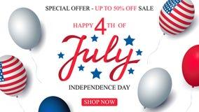 Decorazione americana della bandiera dei palloni del modello dell'insegna di celebrazione di vendita di U.S.A. di festa dell'indi immagine stock libera da diritti