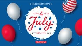 Decorazione americana della bandiera dei palloni del modello dell'insegna di celebrazione di vendita di U.S.A. di festa dell'indi fotografia stock