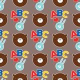 Decorazione animale del bambino del tessuto del fumetto dell'illustrazione di ABC dell'orsacchiotto del modello di vettore di pro illustrazione vettoriale