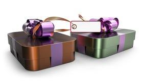 Decorazione avvolta dell'arco del nastro del contenitore di regalo Fotografia Stock Libera da Diritti