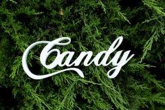 Decorazione bianca di legno di nozze con la parola Candy Immagini Stock