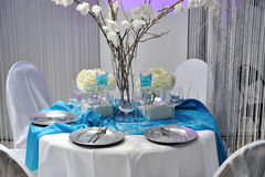 Decorazione bianca Wedding della tabella Fotografia Stock