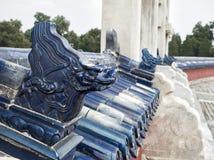 Decorazione blu all'altare circolare del monticello al tempio del cielo, Pechino, Cina, Asia del fronte del drago Immagini Stock