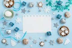Decorazione blu di Natale su legno Immagine Stock Libera da Diritti