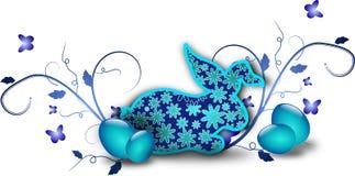Decorazione blu scuro di pasqua del coniglio royalty illustrazione gratis