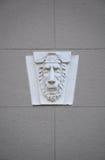 Decorazione capo- della parete del monumento storico del leone, Mosca, Russia immagini stock libere da diritti