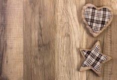 Decorazione con forma della stella e del cuore Fotografia Stock