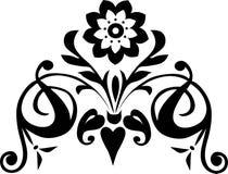 Decorazione con il fiore nero illustrazione vettoriale