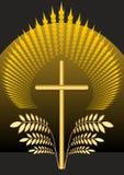 Decorazione cristiana funebre Decorazione di sepoltura con la croce e le foglie di palma dorate illustrazione vettoriale