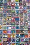 Decorazione d'annata variopinta della parete delle piastrelle di ceramica Fotografia Stock