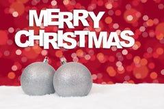 Decorazione d'argento della carta delle palle di Buon Natale con neve Fotografia Stock