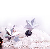 Decorazione d'argento di natale con il ramo di albero della pelliccia Fotografie Stock