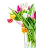 Decorazione degli uccelli e dei tulipani Fotografia Stock Libera da Diritti