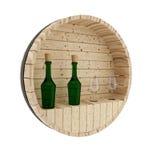 Decorazione del barilotto della quercia del vino nella rappresentazione 3D Immagine Stock