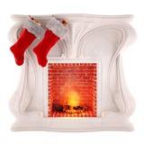 Decorazione del camino di Natale isolata su fondo bianco Immagini Stock Libere da Diritti