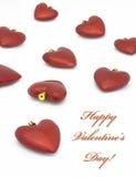 Decorazione del cuore di giorno del biglietto di S. Valentino su bianco Fotografia Stock