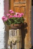 Decorazione del fiore davanti alla porta Immagine Stock Libera da Diritti