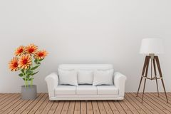 Decorazione del fiore della dalia con il sofà e la lampada nell'interno della stanza bianca nella rappresentazione 3D Fotografie Stock
