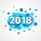 Decorazione del fondo del blu del buon anno 2018 illustrazione vettoriale
